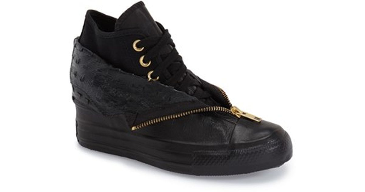 6b103b17475 Lyst - Converse Chuck Taylor All Star  lux Shroud  High Top Wedge Sneaker  in Black