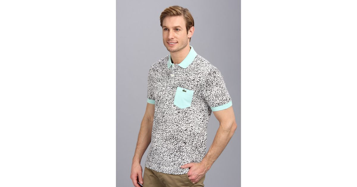 e5ebbb822a Lacoste Green Live Short Sleeve Mini Pique All Over Camouflage Printed Polo  Shirt for men