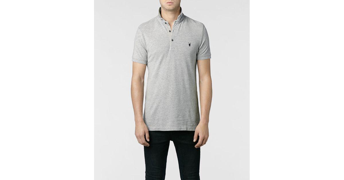 Allsaints Sandringham Polo In Gray For Men Lyst
