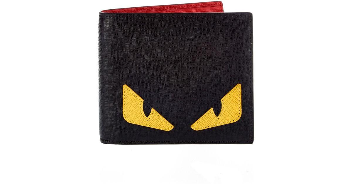 8ddf5d6974 Fendi Bag Bugs Leather Bi-fold Wallet in Black for Men - Lyst