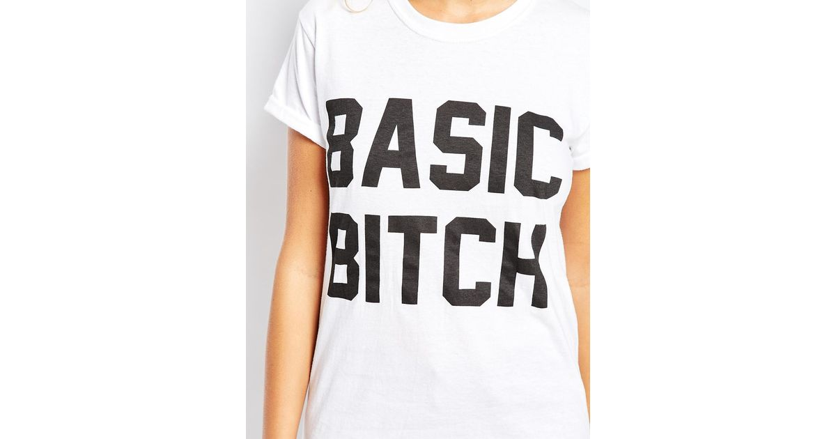 a512d78808 Adolescent Clothing Boyfriend T-shirt With Basic Bitch Print in White - Lyst