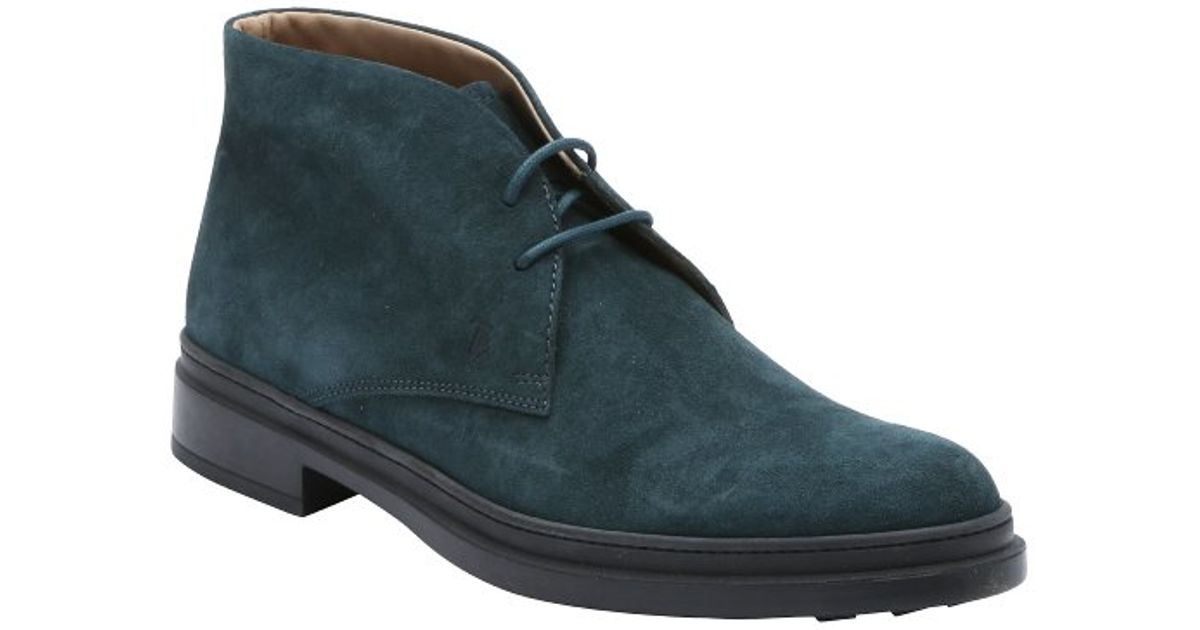 tod s midnight blue suede lace up chukka boots in blue for
