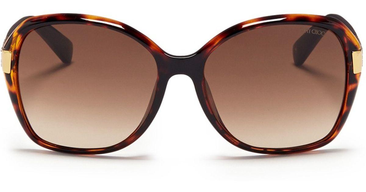 b90f5ad0e90f Lyst - Jimmy Choo  alana  Crystal Temple Acetate Sunglasses in Brown