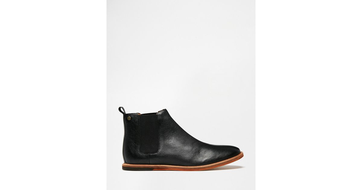 frank wright burns leather chelsea boots in black for