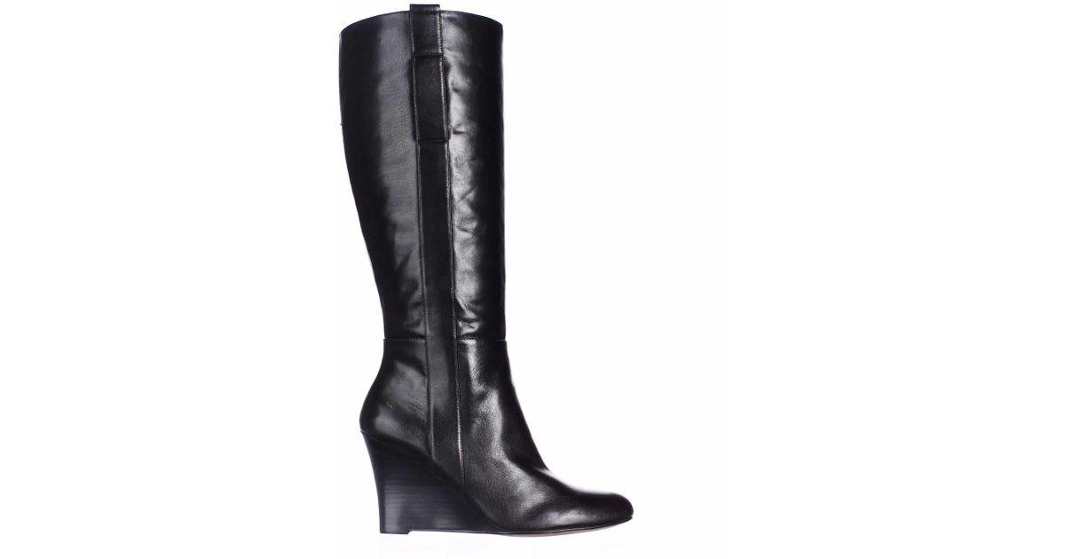 c34e3e04c058d Nine West Oran Wide Calf Wedge Knee-high Boots in Black - Lyst