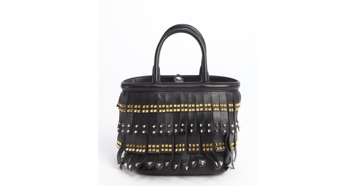 Prada Black Leather Studding Detail Top Handle Handbag in Black | Lyst