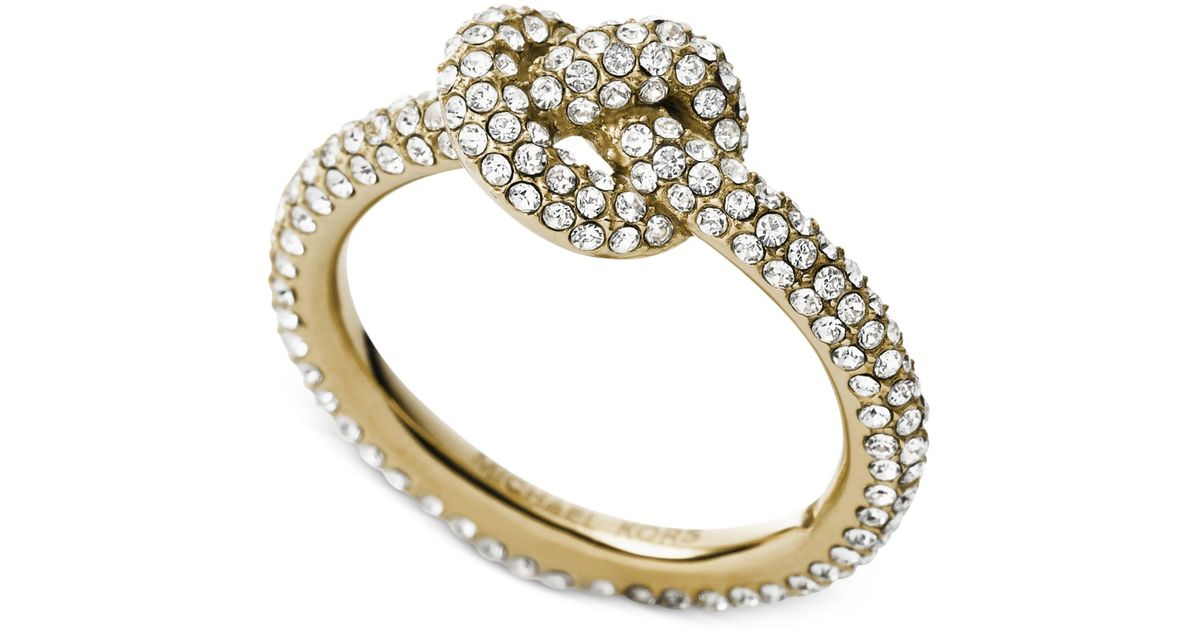Michael Kors Clear Pave Crystal Knot Ring In Gold Metallic Lyst