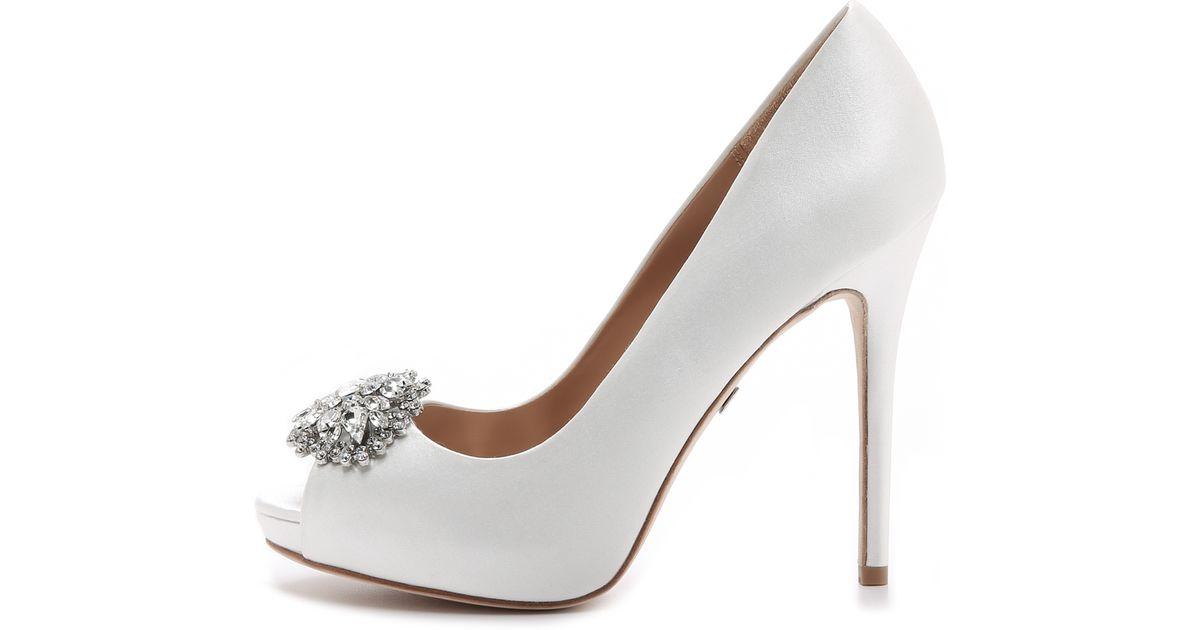 Lyst - Badgley Mischka Jeannie Peep Toe Pumps - White in White