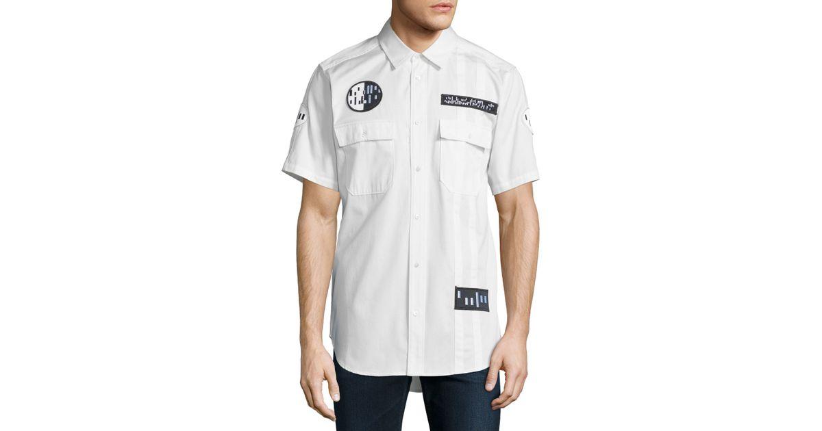 Lyst alexander wang button down short sleeve shirt with for White short sleeve button down shirts for men