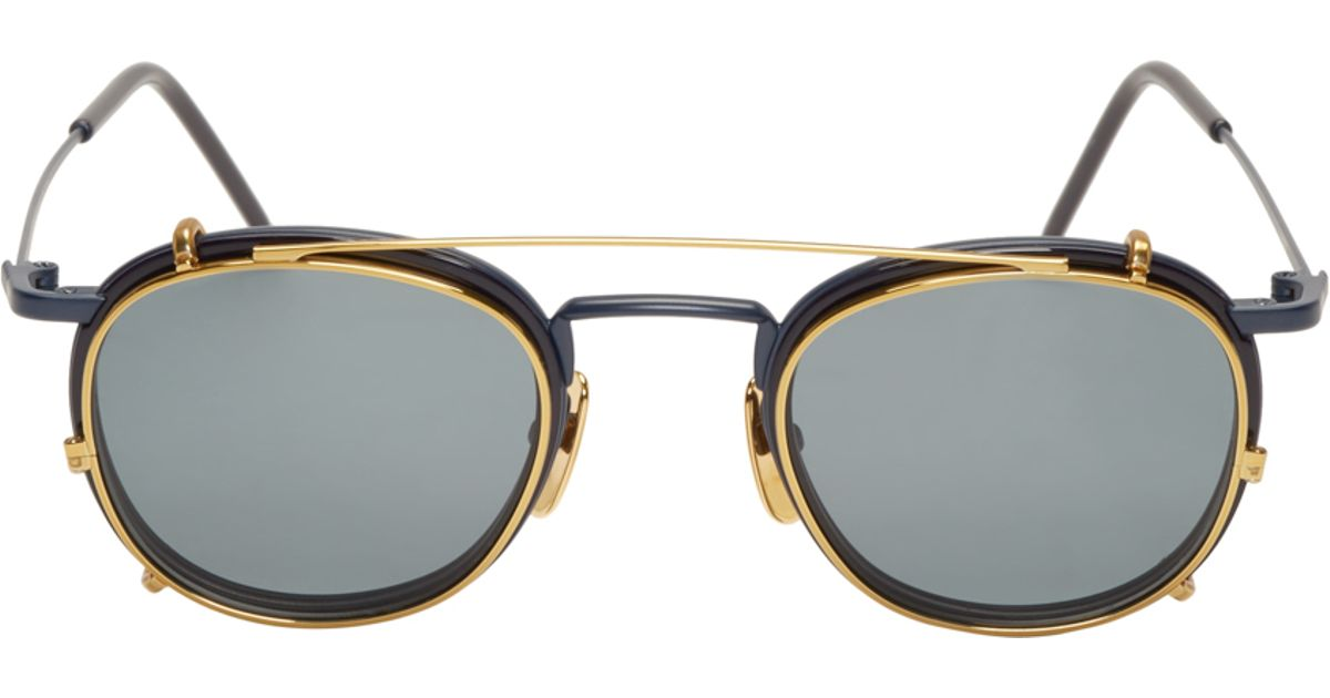 9c38a1a7833 Lyst - Thom Browne Matte Navy And Gold Clip-on Glasses in Blue