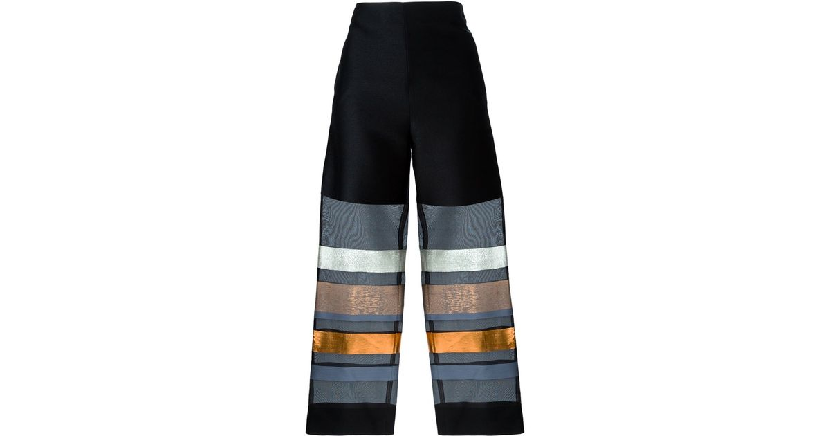808499908adfc Lyst - Erika Cavallini Semi Couture Organza Sheer Stripe Trousers in Black