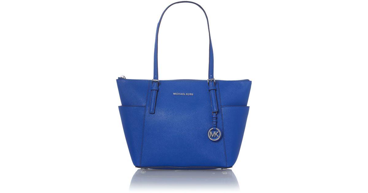 michael kors jet set item blue zip top tote bag in blue lyst. Black Bedroom Furniture Sets. Home Design Ideas