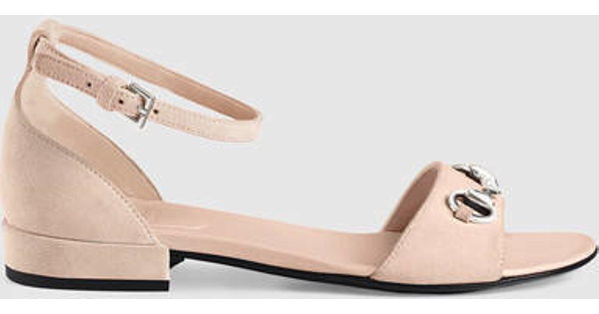 cf8afa244 Gucci Children's Suede Horsebit Sandal in Pink - Lyst