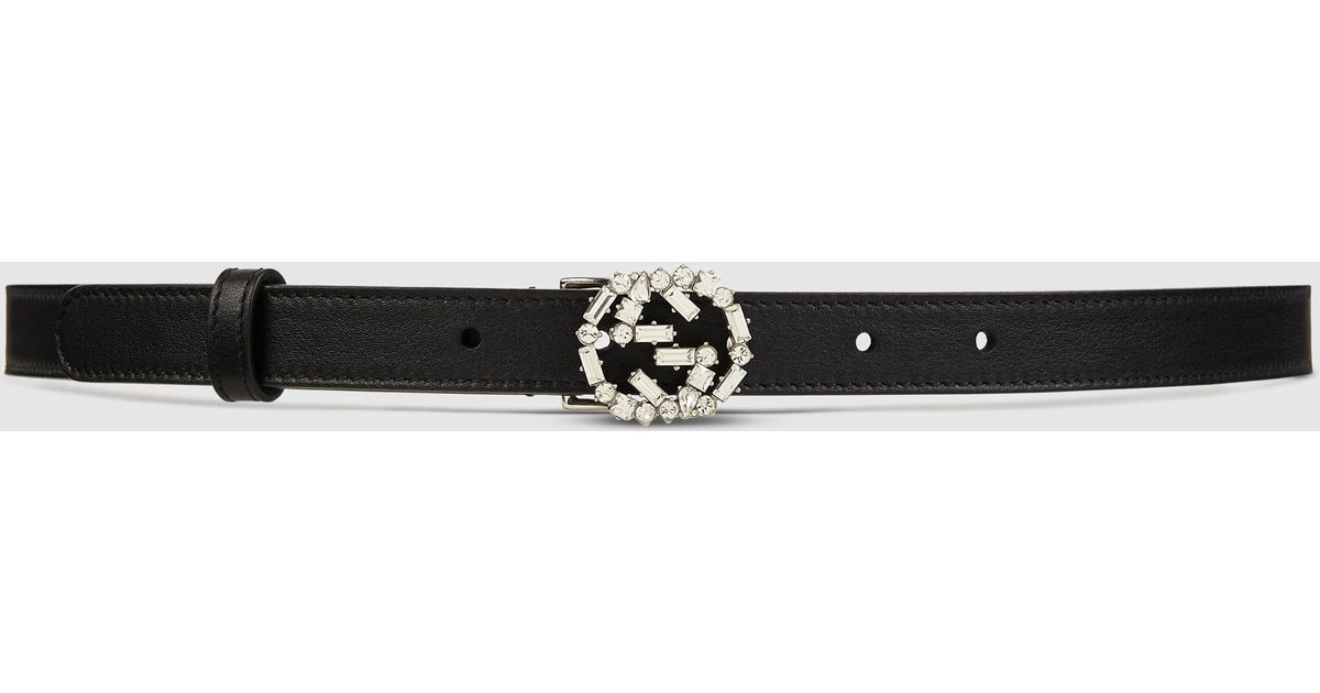 256986357657 Gucci Thin Leather Belt With Crystal Gg in Black - Lyst
