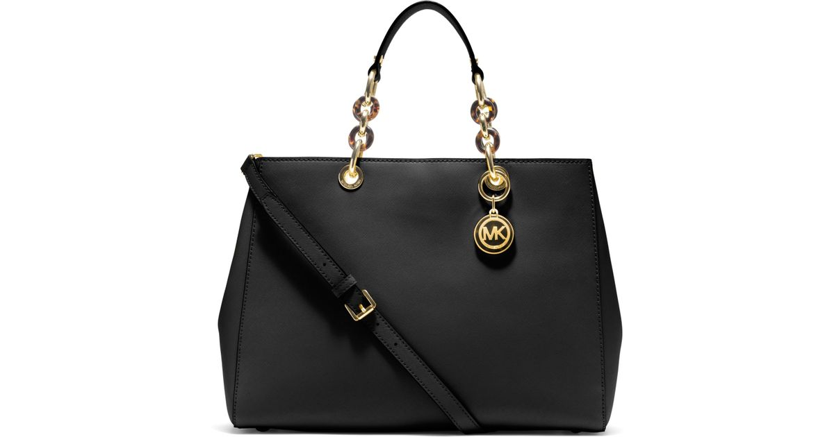 Lyst Michael Kors Cynthia Large Saffiano Leather Satchel In Black