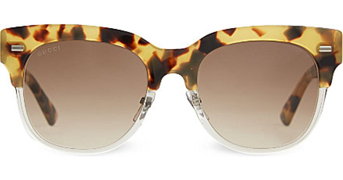 bed809e433c6 Gucci G3744 Tortoise Shell Half-frame Sunglasses in Brown - Lyst