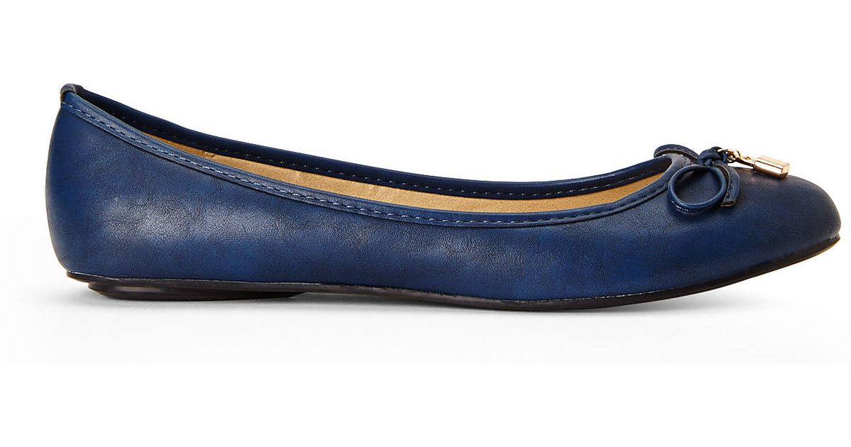 navy blue leather flats cheap online