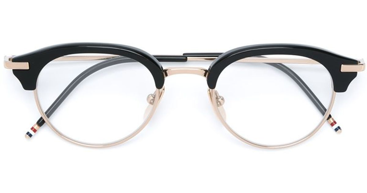 Lyst - Thom Browne Oval Frame Glasses in Black