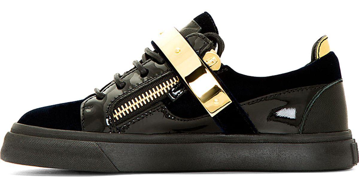 8f15193ee0e5 Lyst - Giuseppe Zanotti Navy Velvet Low Top Sneakers in Blue