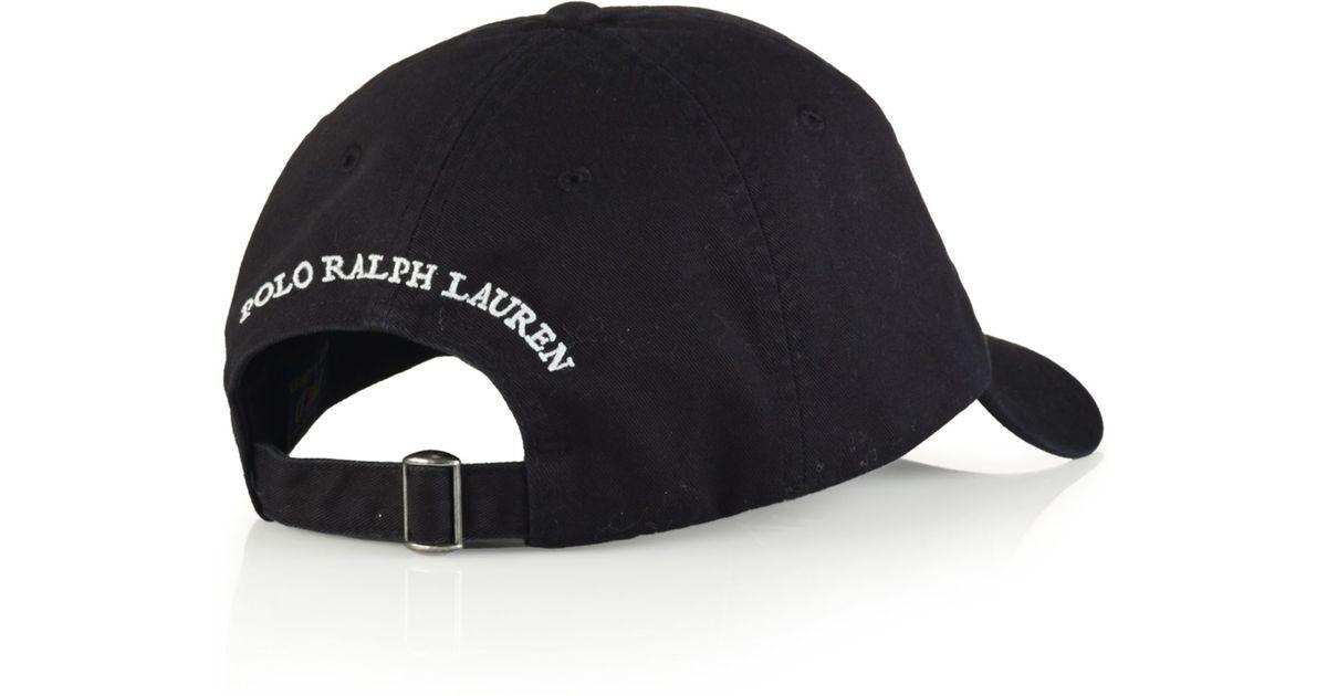 bd31fb2c9c0b4 Polo Ralph Lauren Polo Bear Chino Baseball Cap - Athlete Bear in Black for  Men - Lyst