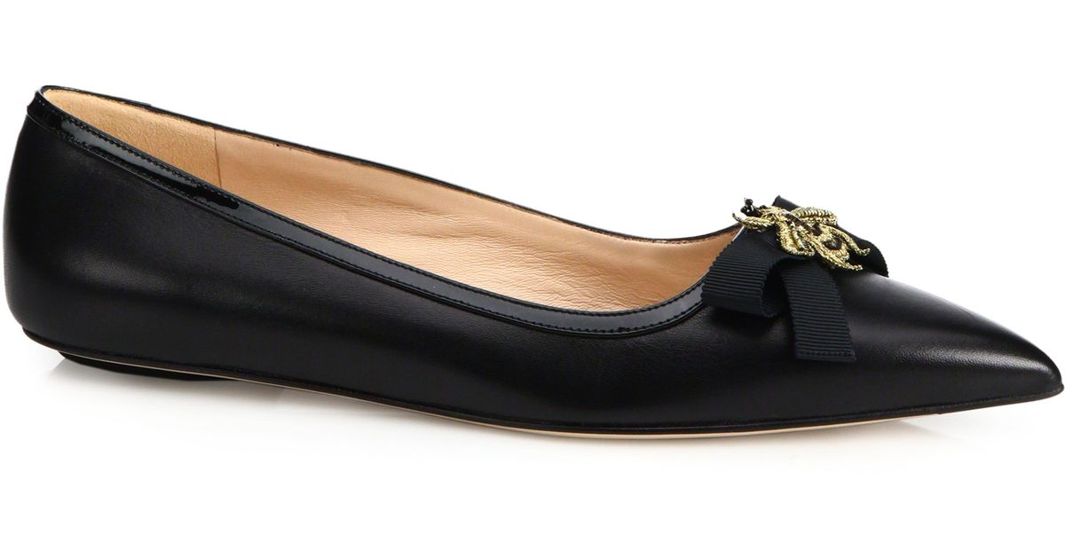 762d93f90c09 Lyst - Gucci Moody Bee Leather Ballet Flats in Black