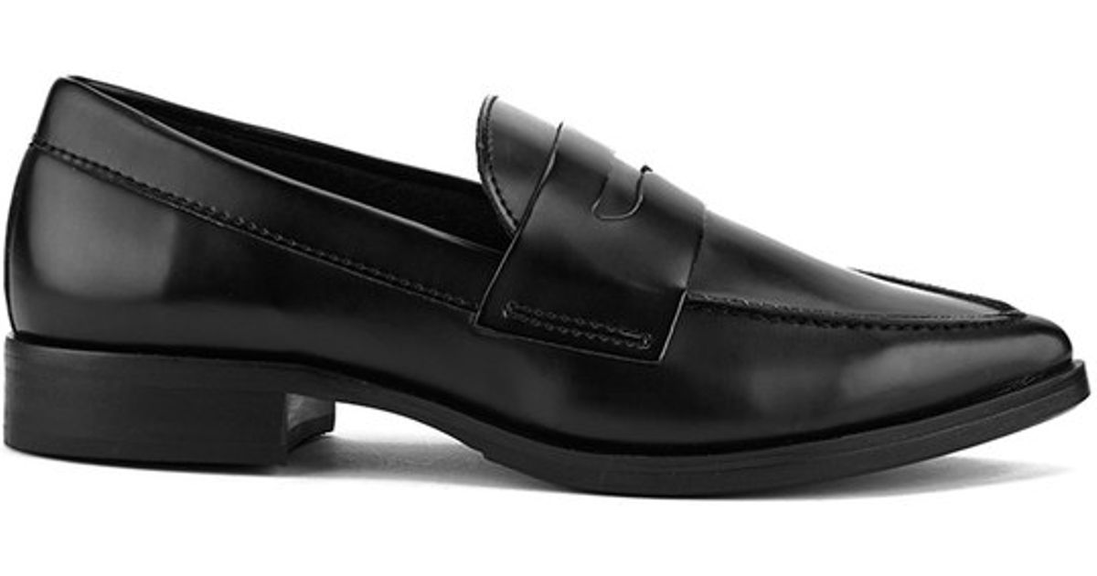 c4fa0b29f95 Steve Madden Black Women's Lindie Pointed Leather Penny Loafers