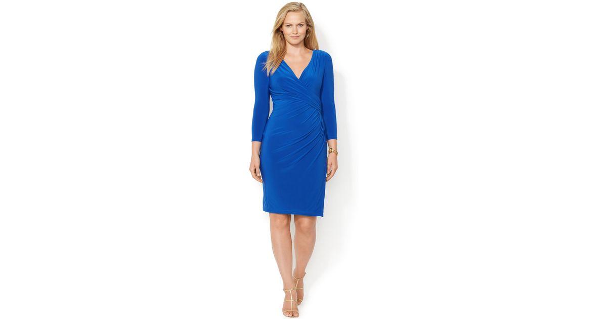 Lyst - Lauren by ralph lauren Plus Size Faux-Wrap Dress in Blue