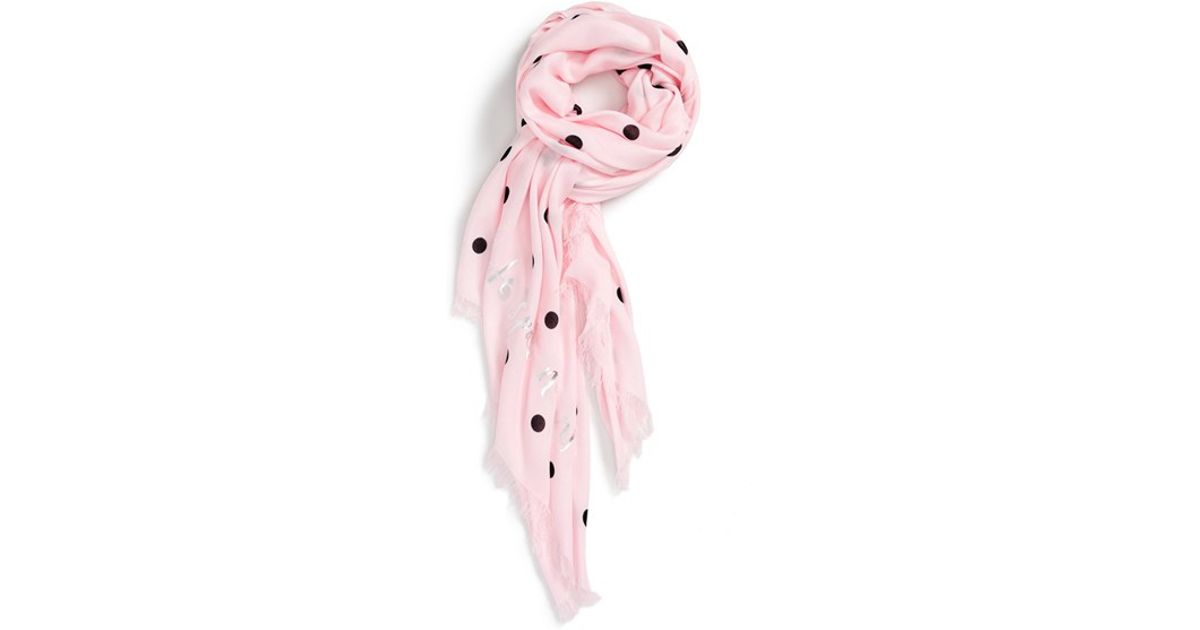 fd1ec6e60e1b Lyst - Kate Spade  celebration Polka Dot  Scarf in Pink