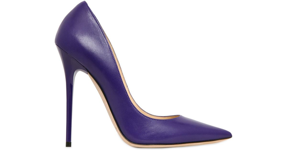 341abc29bf7 Lyst - Jimmy Choo 120Mm Anouk Leather Pumps in Purple