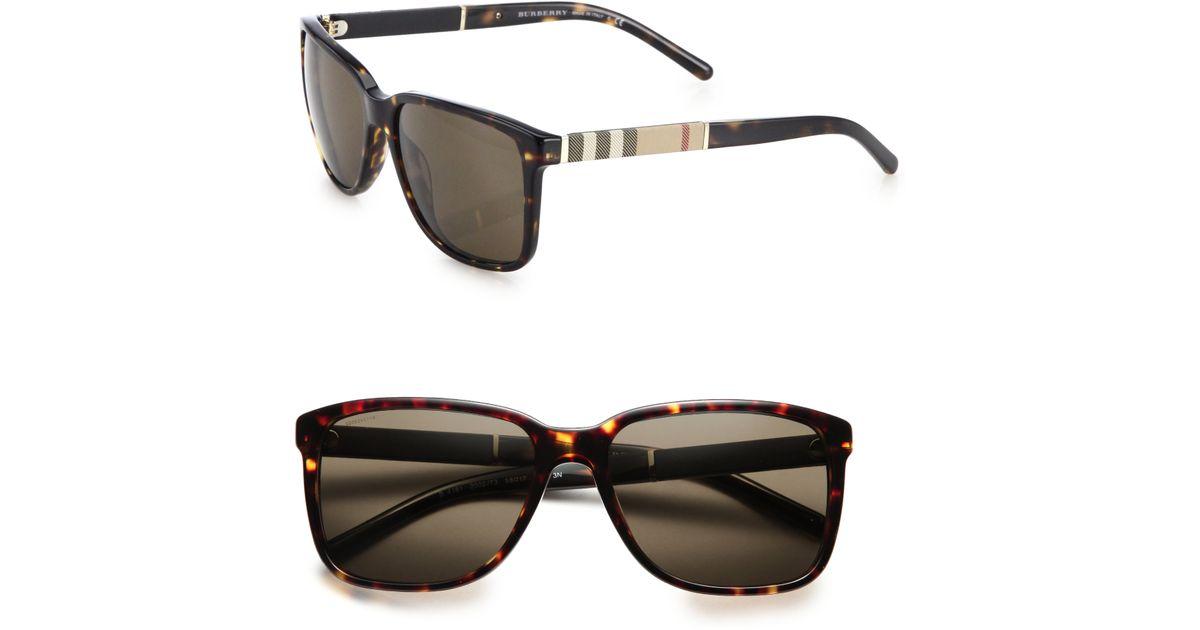 4c3d55250b1af Burberry 58mm Check-print Wayfarer Sunglasses in Brown for Men - Lyst