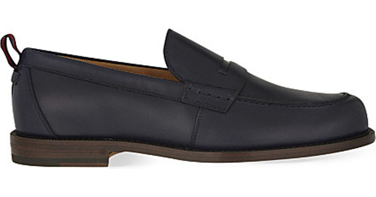 Gucci tobias leather penny loafers in blue for men lyst