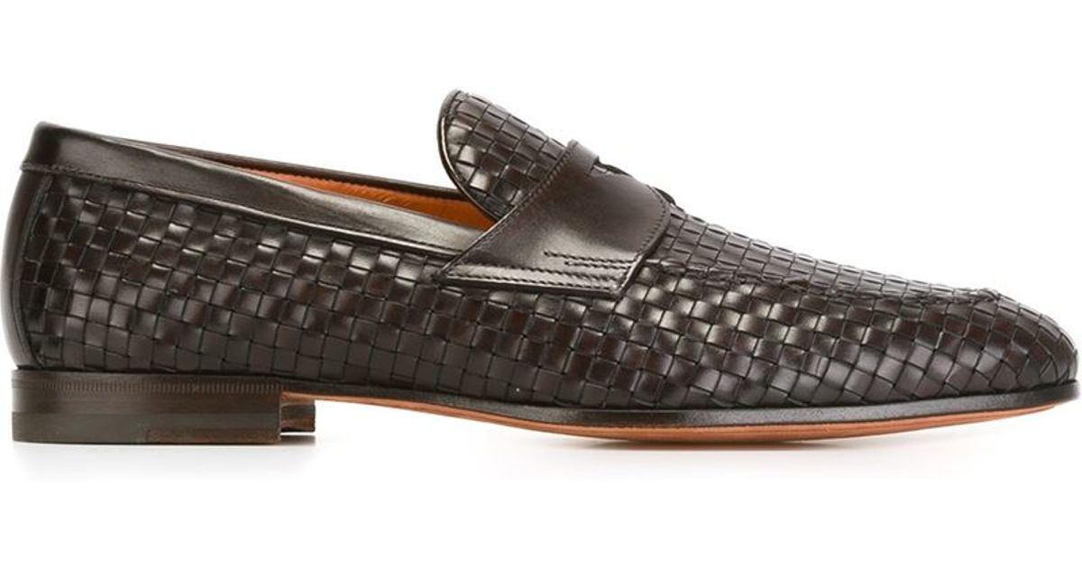 Lyst Loafers In For Santoni Brown Men Woven qSqzTwvP