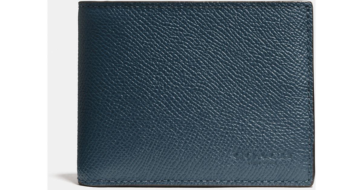 30e3241fb2 COACH Blue Slim Billfold Wallet In Crossgrain Leather for men