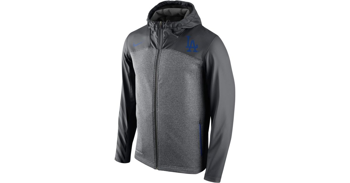 promo code 35a21 0f0ba Nike Gray Men'S Los Angeles Dodgers Speed Chain Shield Hoodie for men