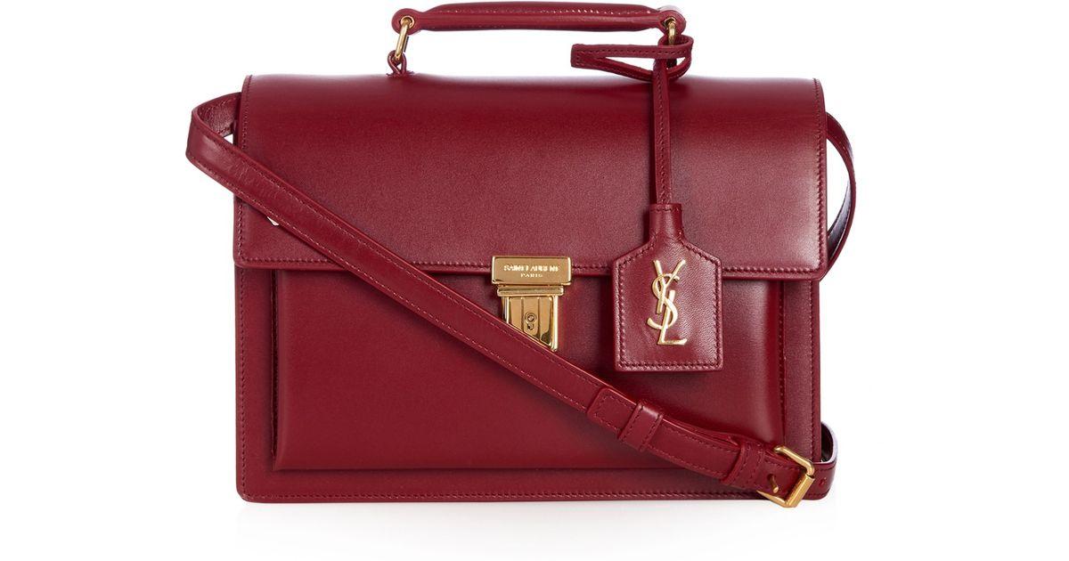 28f2627859e6 Lyst - Saint Laurent High School Medium Leather Cross-Body Bag in Red