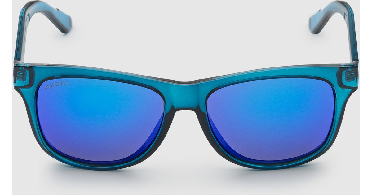 b139de55c1 Gucci Online Exclusive Bio-based Rectangle Web Sunglasses in Blue - Lyst