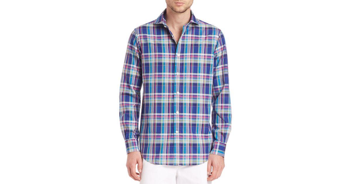 Polo ralph lauren plaid oxford shirt in blue for men navy for Navy blue plaid shirt