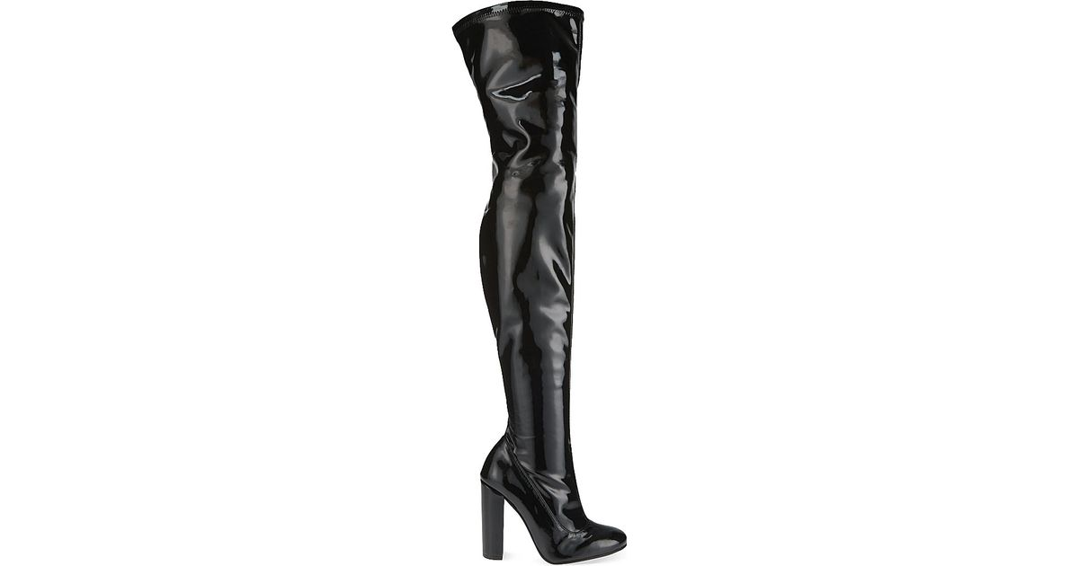 aeb73bb8e Carvela Kurt Geiger Wolf Patent Leather Thigh-high Boots in Black - Lyst