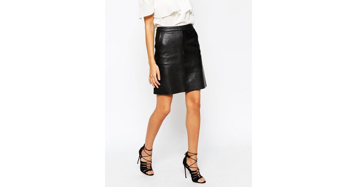 warehouse faux leather a line skirt in black lyst