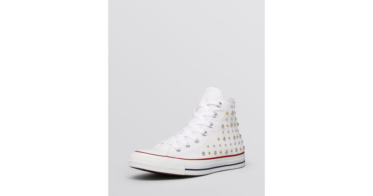 Top Sneakers - Canvas Studded in White