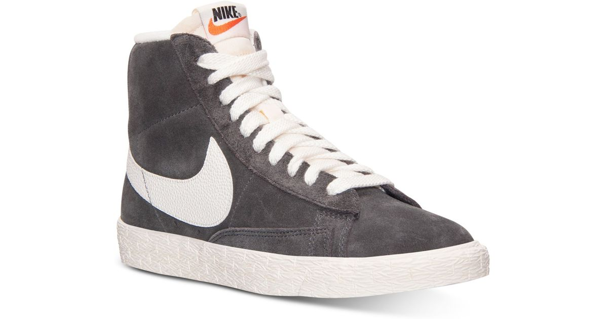 nike blazer mid trainers in grey suede boutique