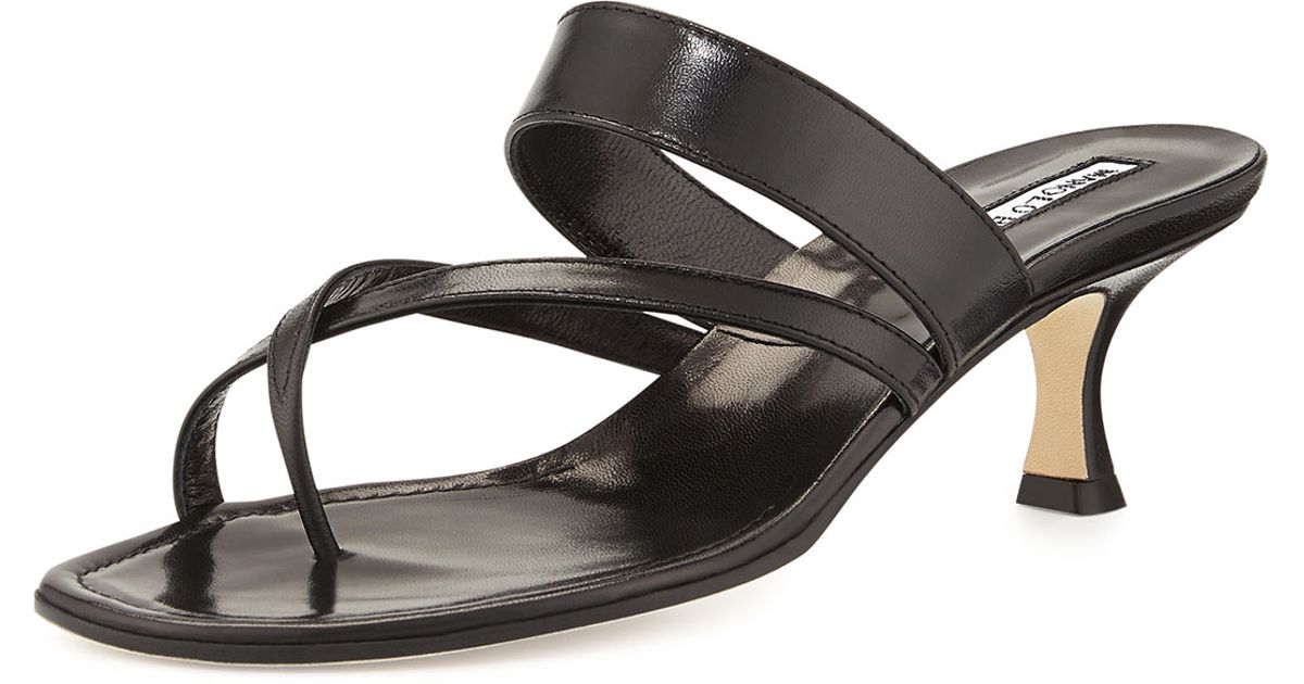168517bab6464 Lyst - Manolo Blahnik Susa Low-heel Thong Slide Sandal in Black