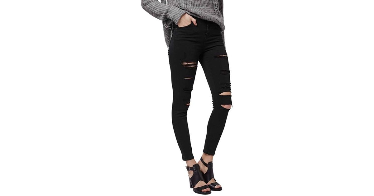 2297d16a802 TOPSHOP Moto 'jamie' Ripped Ankle Skinny Jeans in Black - Lyst