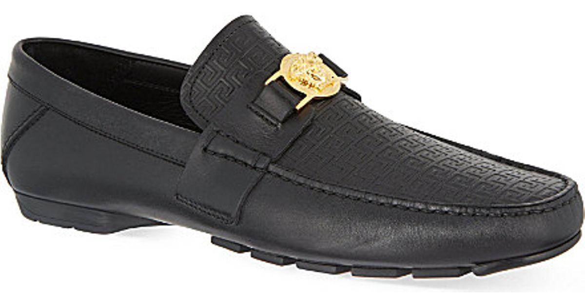 9874f486 Versace Black Greco Medusa Driving Shoes for men