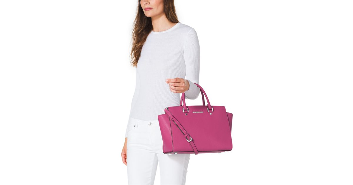 4e4b33c10e53 Michael Kors Selma Large Saffiano Leather Satchel in Pink - Lyst