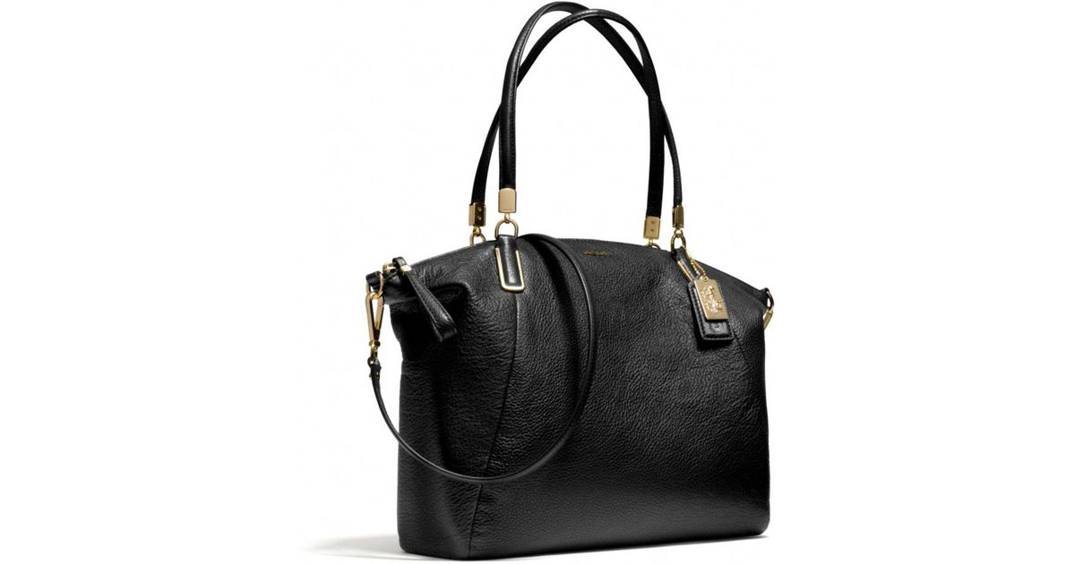 a927810f8bbb16 hot coach madison small kelsey in signature fabric e270f 25b34; coupon code  for lyst coach madison kelsey satchel in leather in black 59375 32a9c