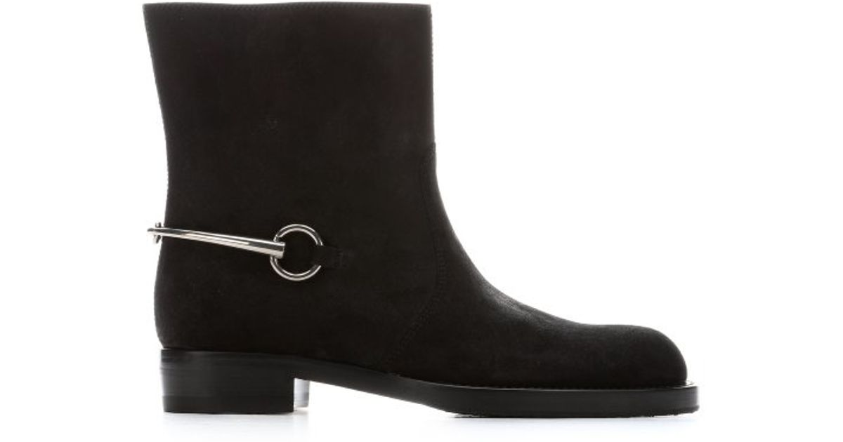 gucci black suede horsebit mid ankle boots in black lyst