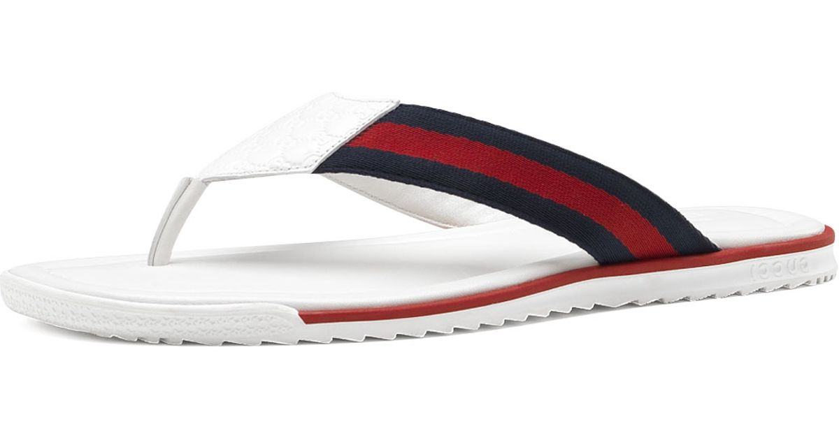 5bd5036e996c94 Lyst - Gucci Thong Sandal With Web Detail in White for Men