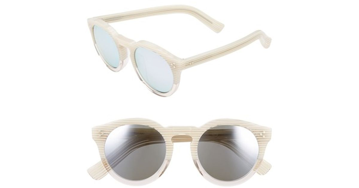 6a5b1f7dbf Lyst - Illesteva  leonard Ii  50mm Round Mirrored Sunglasses - Cream  Stripes  Silver Mirror in Natural