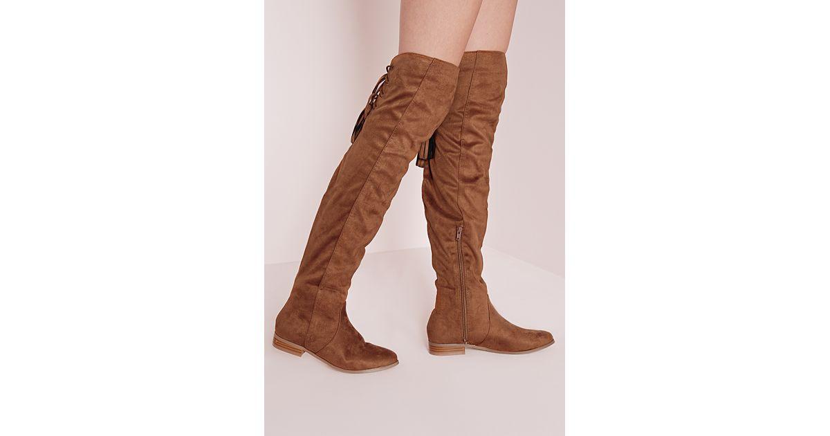 870b0335a35 Missguided Flat Knee High Tassel Back Boot Tan in Brown - Lyst